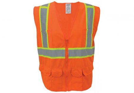 Flame Resistant Orange Mesh Reflective Tape Class 2 Vest